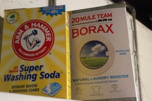 Common boxes for washing soda and borax.