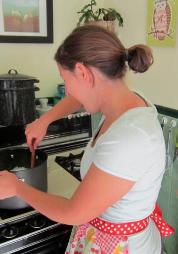 Making cheese.