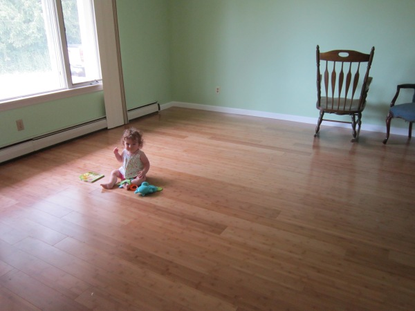 Our new bamboo floors are finally finished! And the water damage to this room repaired!
